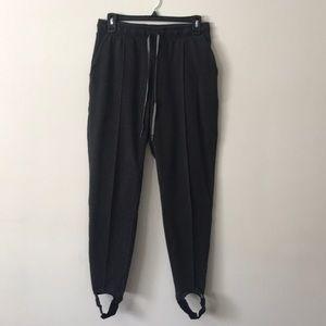 Women's sweatpants with stirrups.